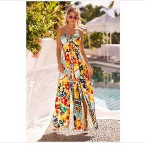 Boston Proper Printed Tie Maxi Dress